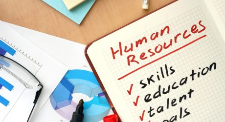 Notepad with words human resources concept and glasses