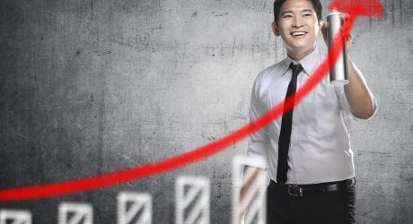 Asian business person, spray making arrow sketch. Business activity concept